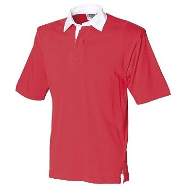 Front Row - Camiseta de Rugby de Manga Corta, Color Rojo: Amazon ...