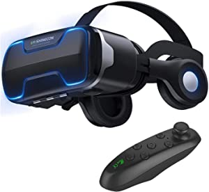 3D VR Glasses Virtual Reality Headset Goggles w/ Headphones & Controller for iPhone 11 Pro XR XS X 8 7 6S 6 Plus Samsung Galaxy S10 S9 S8 S7 S6 Edge + BLU Advance 5.2 A4 Vivo Go Dash XL X8 etc, Black