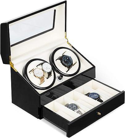 KLARSTEIN Geneva - Estuche de Relojes, Caja para Relojes, para 4 Relojes automáticos, 4 Modos, Rotación hacia la Derecha o Izquierda, Cajón para Relojes, Negro: Amazon.es: Hogar