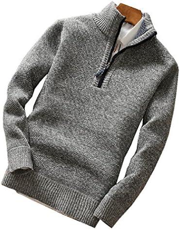 メンズ 霜降り ハーフ ジップアップ ニット スタンドカラー セーター あったか フリース 裏地 秋 冬 (ブルー/ライトグレー/レッド/ダークグレー)