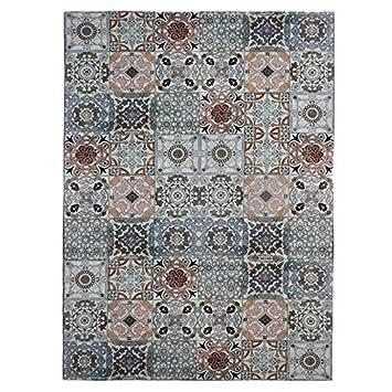 MonBeauTapis Tapis Mozaic Carreaux de Ciment Mutli Bleu 160x230cm ...