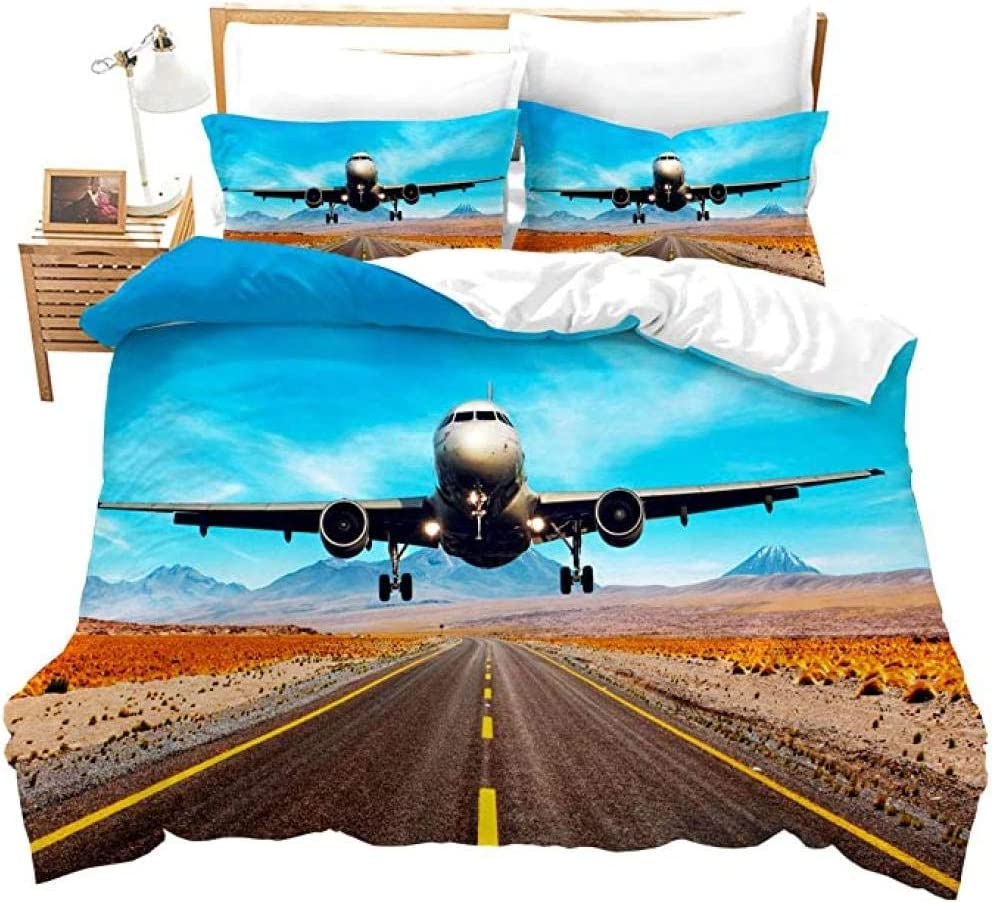 HUA JIE 3pcs Boys Duvet Cover Set, Aviation Aircraft Rayway Ropa de Cama Conjunto de Aviones 3D Microfibra Ultra Soft, con 2 Fundas de Almohadas