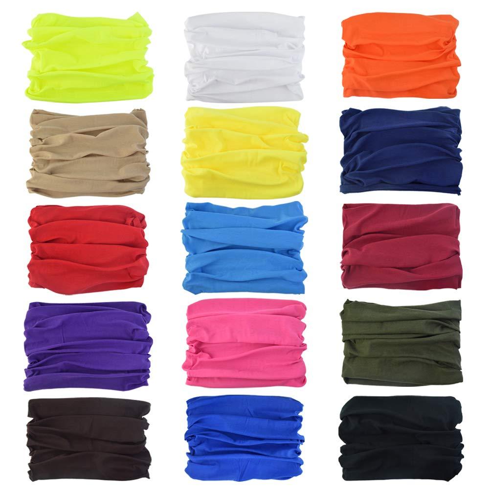 15 Packs Sports Headwear, Fengek Head Wrap Face Bandana Mask Multifunctional Sweatband for Climbing Running Hiking Sports, 15 Colors