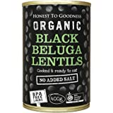 Honest to Goodness Organic Black Beluga Lentils  - BPA Free (Cooked), 400g