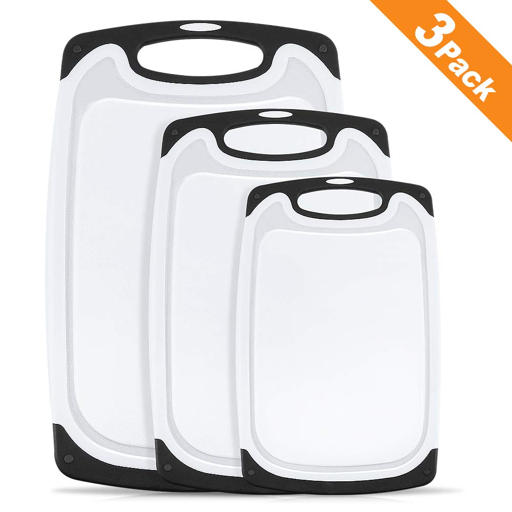 Hereubuy Plastic Chopping Board Set, 3 Piece Plastic Cutting Board with Non-Slip Feet and Deep Drip Juice Groove -Dishwasher safe -Decorated your kitchen