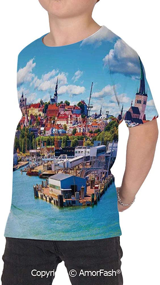 PUTIEN Cityscape Boys and Girls All Over Print T-Shirt,Crew Neck T-Shirt,Scenic Summer