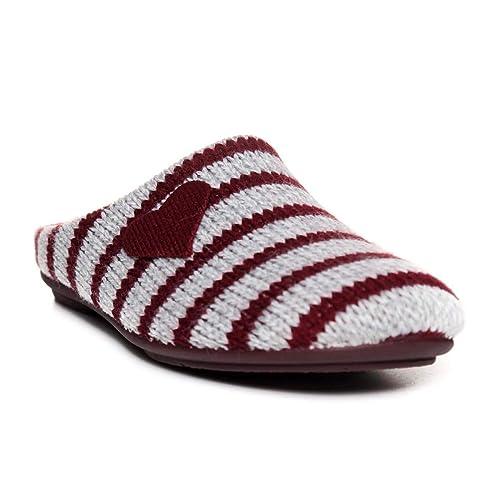 GARZON Abierta Corazon Rayas Mujer Burdeos 40: Amazon.es: Zapatos y complementos