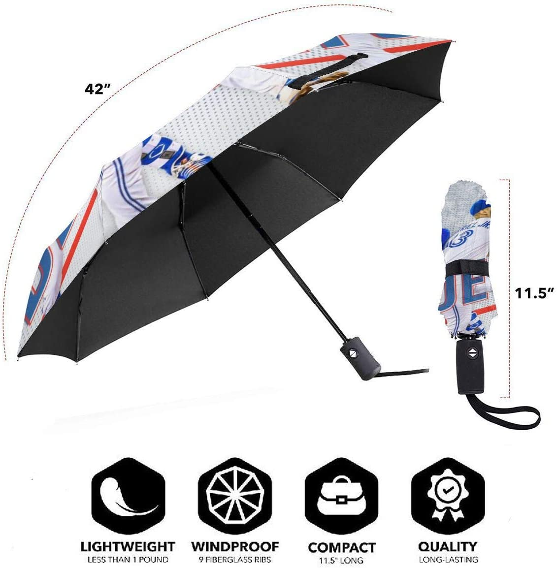 Toron-to Blue Jay-s Compact Auto Open Close Folding Business Umbrellas UV Protection Automatic Tri-fold Umbrella for Men and Women Lovesofun Portable Automatic Umbrella
