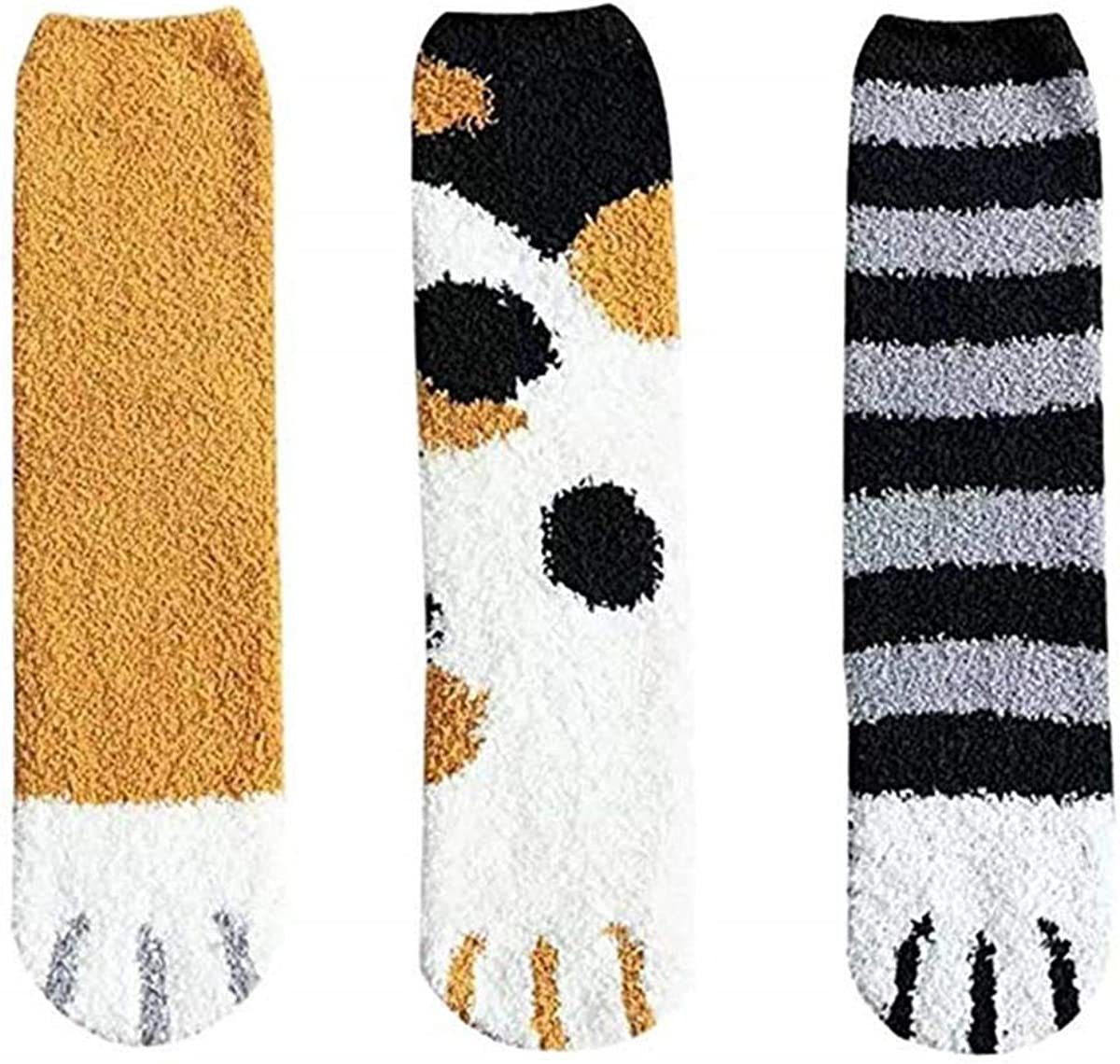 6 Pack Cute Cat Claw Design Plush Cozy Slipper Sock for Womens Winter Indoor 6 Pack