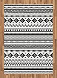 Native American Area Rug by Ambesonne, Aztec American Folkloric Art Borders Ancient Tribal South America Culture, Flat Woven Accent Rug for Living Room Bedroom Dining Room, 5.2 x 7.5 FT, Black White