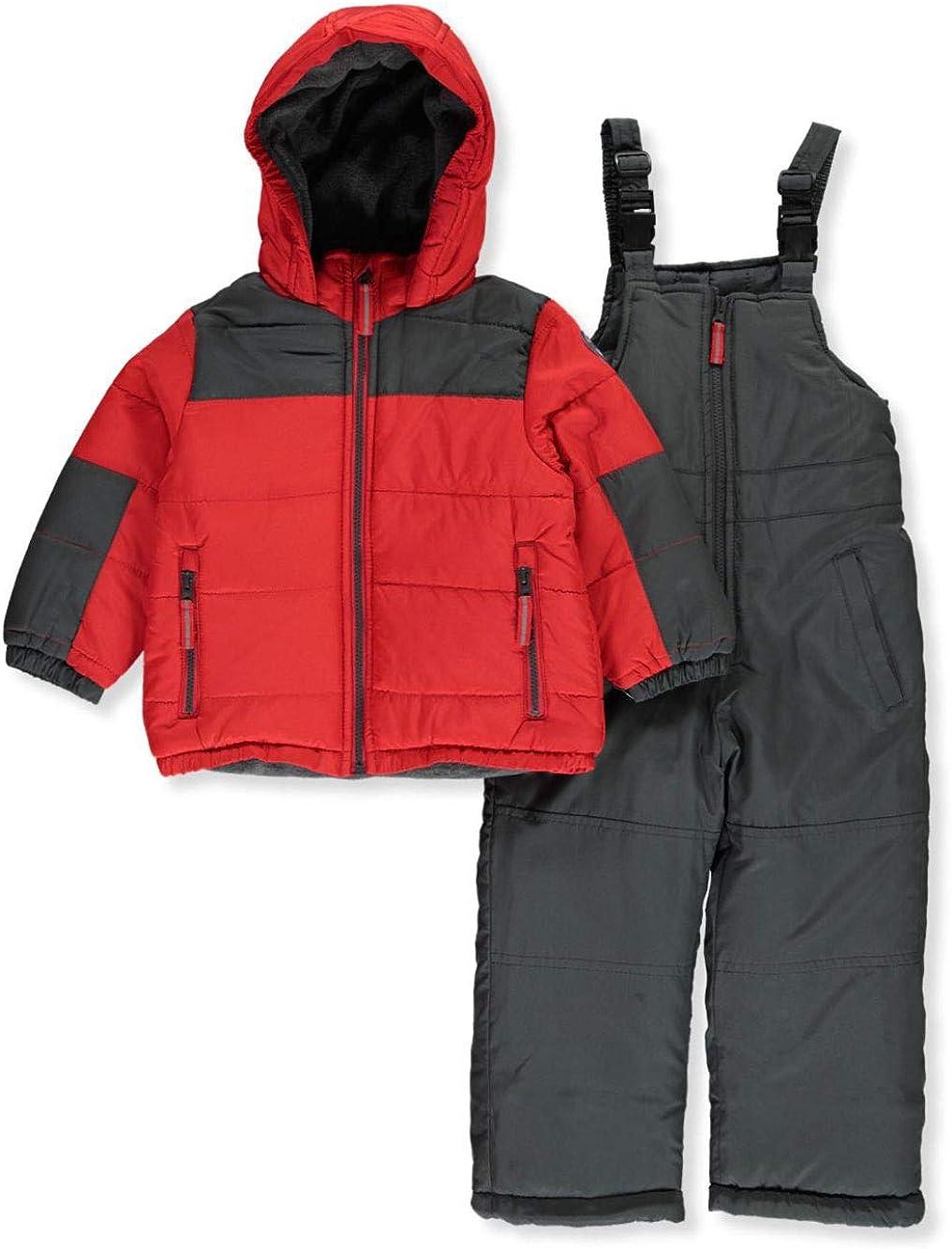 OshKosh B'Gosh Osh Kosh Boys' Ski Jacket and Snowbib Snowsuit Set (Red/Gray, 7)