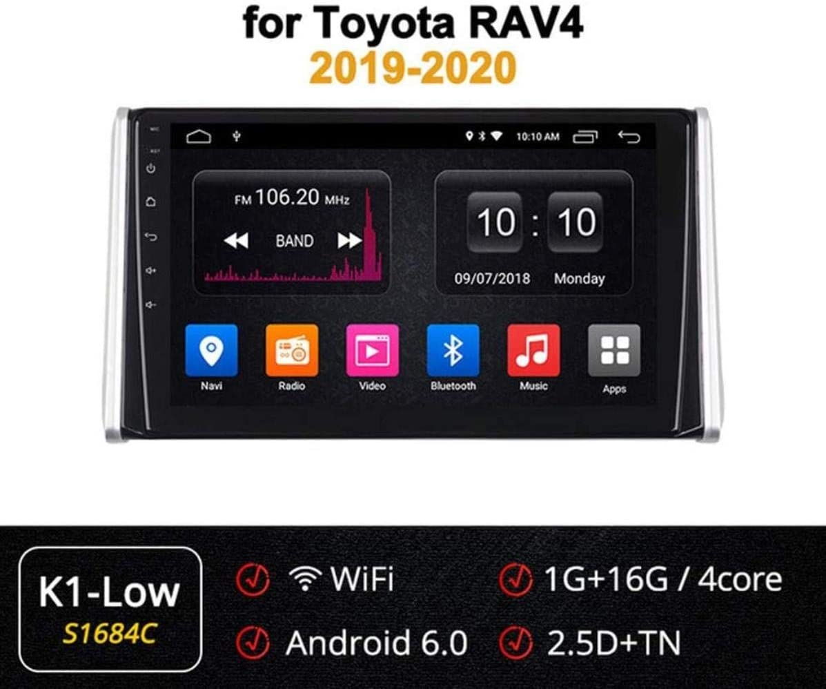 XBRMMM Car Stereo Android 9.0 GPS Navigation, para Toyota RAV4 2019-2020, 10.1 Pulgadas Pantalla Táctil Completa Reproductor Multimedia Radio, BT Mirror Link Control Volante Dab USB,2+32G,A