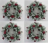 JMB Christmas Two-Sided Mini Wreath with Red Berries and Icy Crystals CHOICE OF 2 SIZES (4, 4 IN)