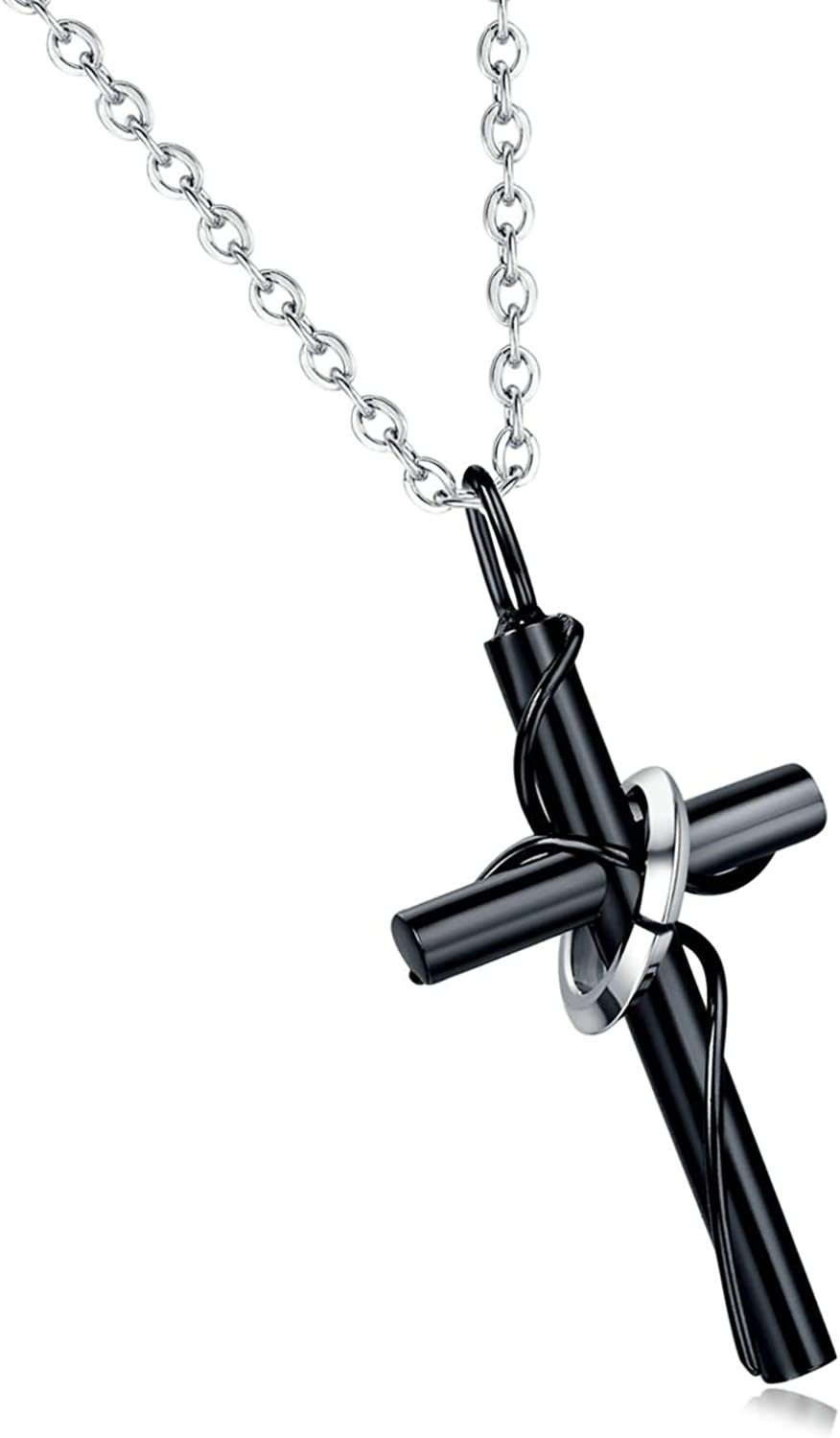 2pcs Silver Stainless Steel Cross Sword Charms Pendant Necklace Jewelry Making