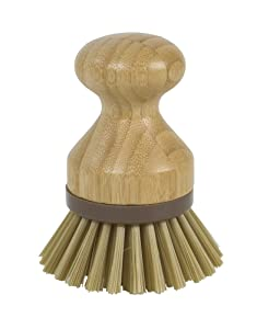 Evriholder Bamboo Naturals Mini Scrub Brush Dish Scrubber Made of Sustainable Bamboo and Recycled Plastic