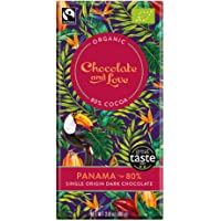 Chocolate & Love Organic Chocolate - Panama 80% Dark Chocolate, 80g
