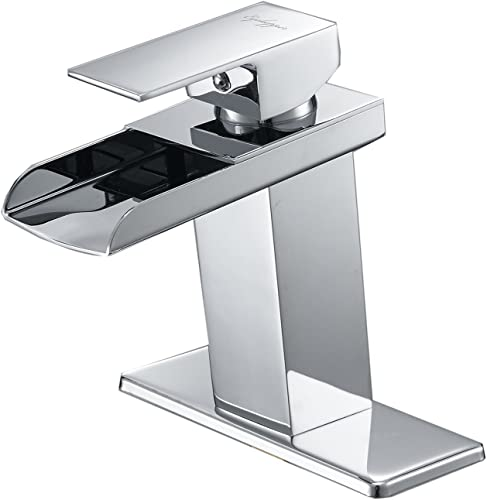Bathfinesse Modern Waterfall Bathroom Sink Faucet Single Handle One Hole Commercial Lavatory Faucets Chrome