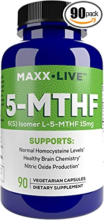 MAXX LIVE L-Methylfolate 15 mg - Active Folate 5 Mthfr Support Supplement Professional Strength Methyl Folate - Essential Amino Acids & Brain Supplement- 90 Vegan Capsules