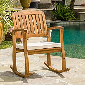 amazon com sadie outdoor acacia wood rocking chair with cushion