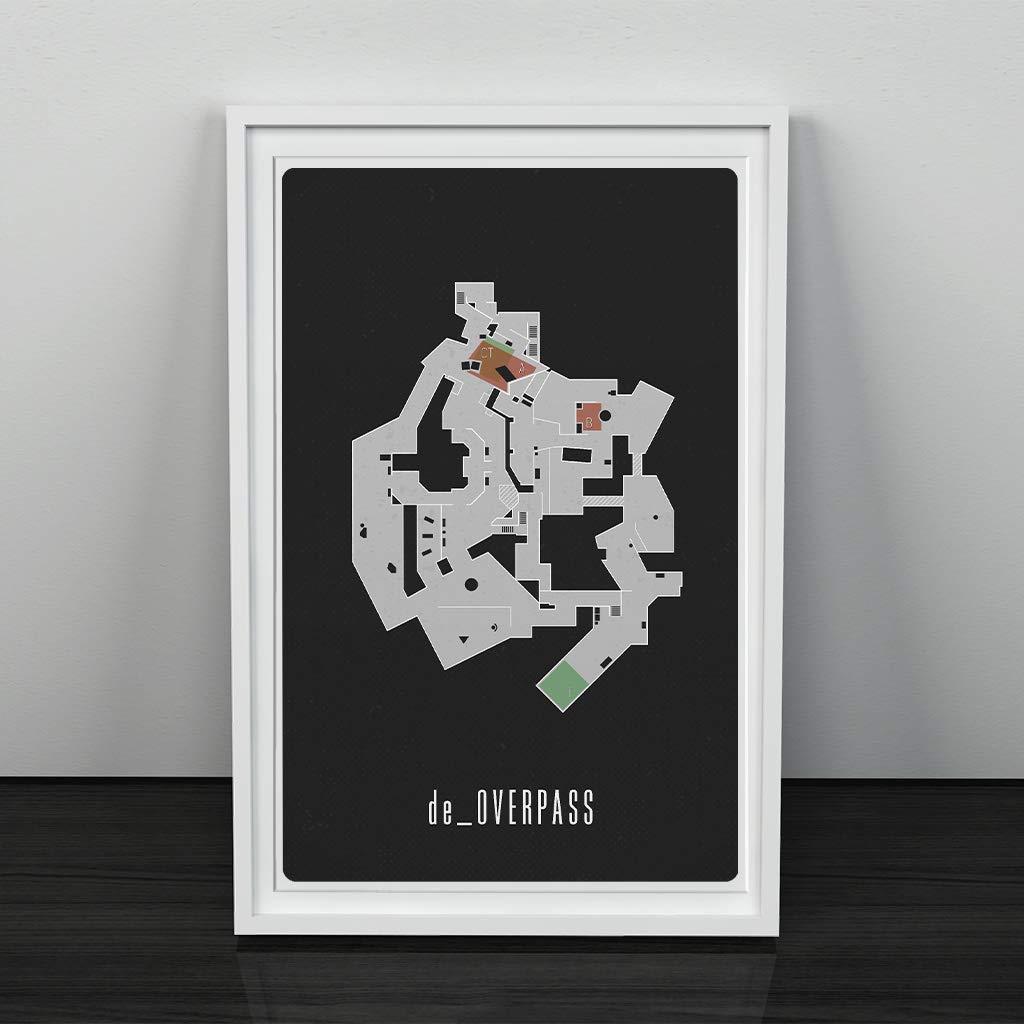 Unframed de/_Overpass Map; Gaming Poster Gifts Under $15 Wall Art Gaming Decor