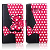 MOUSE Monster Lovely Stylish Bow Bowknot Mouse Leather Flip Wallet Stand Case with Card Slots for Samsung Galaxy Grand Prime G530h Gift with Free Radiation stickers & Stylus Pen(Black Pink Bow Bowknot)