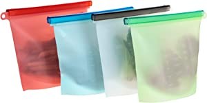 Enkrio Reusable Silicone Food Storage Bags, 4 Pack Airtight Seal Food Container, Leakproof, Dishwasher Safe, Microwave Freezer- 4xLarge 50oz