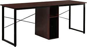 DlandHome Double Computer Desk 78 inches Extra Large Home Office Desk Multifunction Gaming Table Workstation for Home Office, Walnut DWK-HZ011-Walut