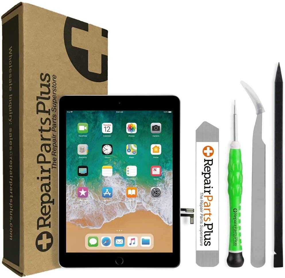 iPad 5 2017 LCD Screen Replacement and Glass Touch Digitizer Premium Kit w/Home Button by RepairPartsPlus (Black)