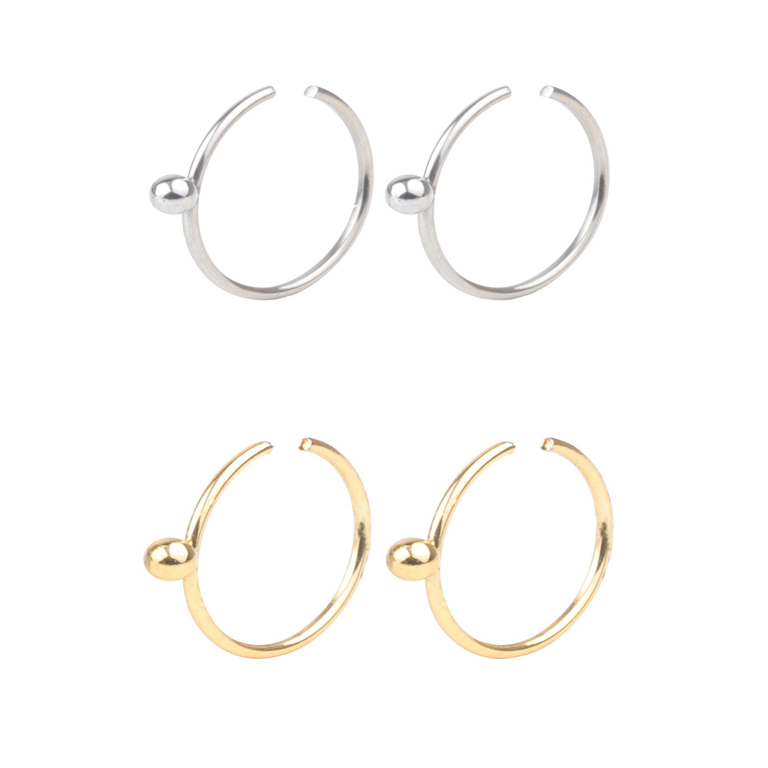 DRS 2-6pcs 22G Stainless Steel Non Pierced Clip on Closure Round Ring Fake Nose Lip Helix Cartilage Tragus Ear Hoop Piercing Body Jewelry 10mm