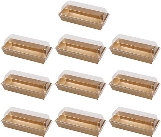 BESTONZON 10 unids Pastel Pan Sartenes Kraft Papel Sandwich Cajas de envoltura Pastel Pan Snack Panadería Caja de embalaje con tapas transparentes de plástico (Rectangular): Amazon.es: Hogar