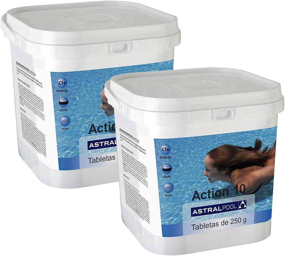 Astralpool - Action-10 Desinfectante con Cloro Multiac. 10 Kg 250Gr - Formato Cuadrado(Pack 2 Unidades)