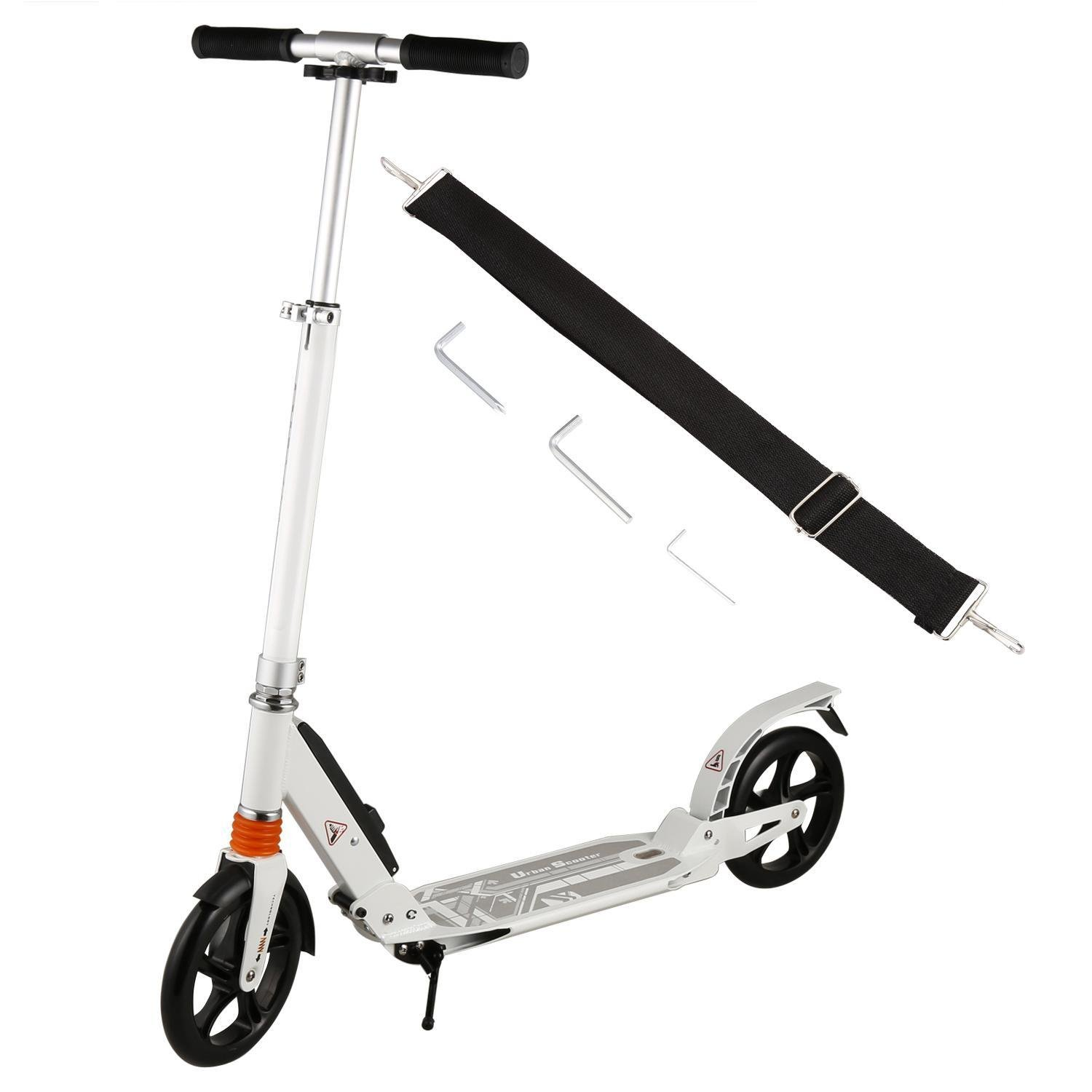 Hindom Folding Adult/Teen Kick Scooter,Height Adjustable 2-Wheel 3 Levels Kick Scooter with Dual Suspension and Rear Brakes,Street Push Scooter for City Urban Riders(US STOCK)