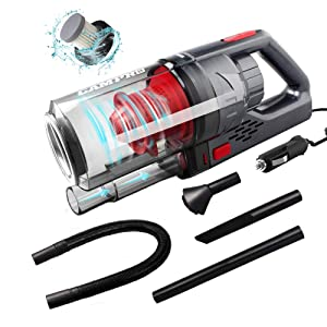 GAMPRO 6000PA Car Vacuum Cleaner, Handheld Vacuum Cleaner 4 in 1 NOZZLES 150W 12V 4.5M Cable Detachable HEPA Filter Low Noise, Wet/Dry Auto Vacuum Cleaner