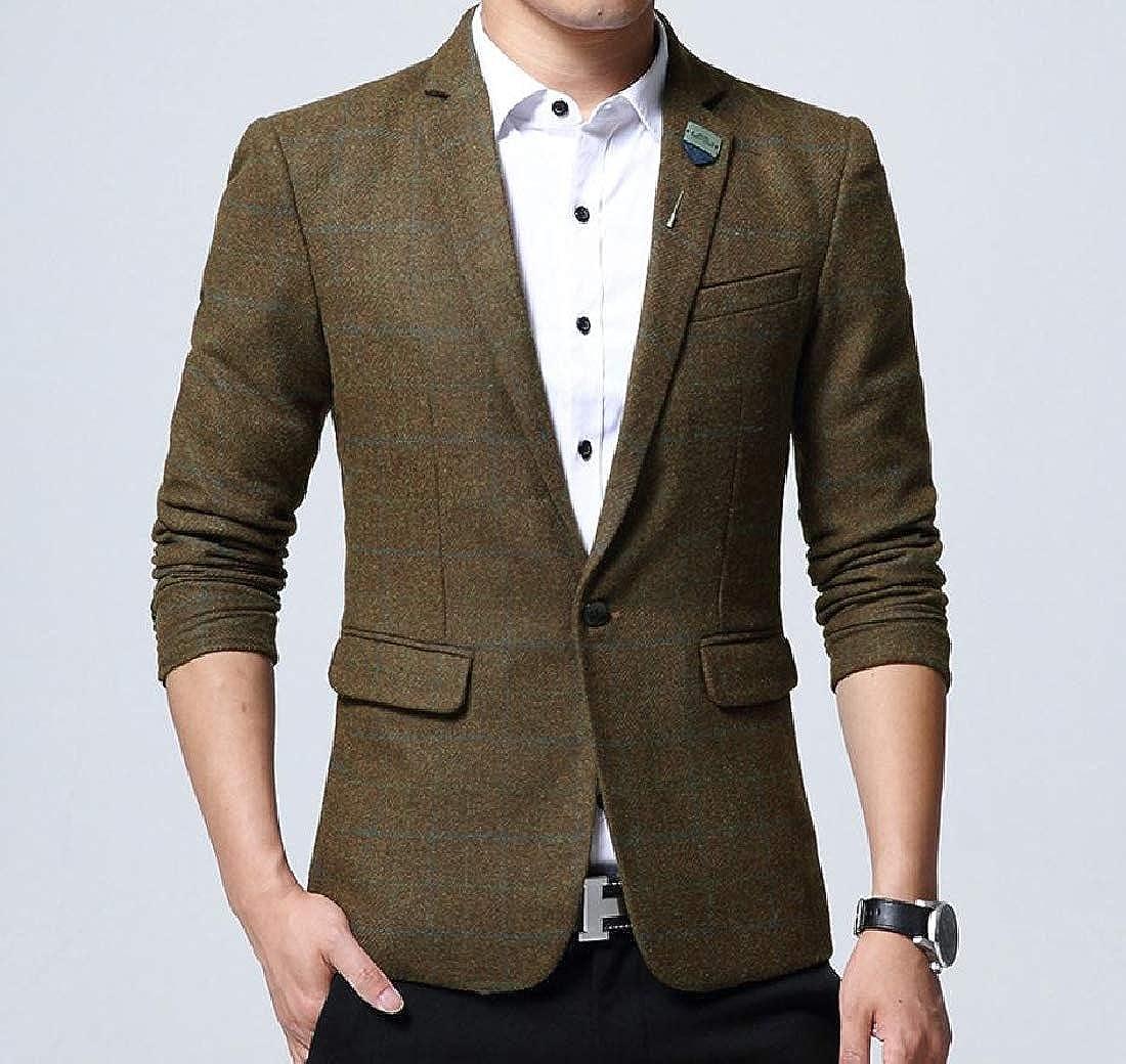 Khaki Khaki Khaki Abetteric Men Grid Outwear One Button Performance Sports Coat Blazers 8d55bf