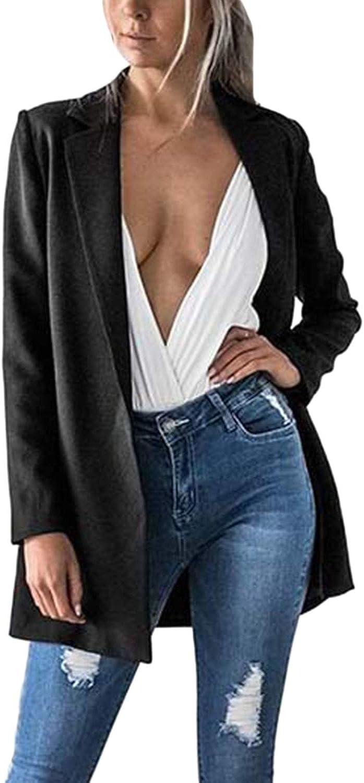 Dazosue Womens Suit Casual Open Front Lapel Slim Longline Blazer