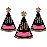 Chic 30th Birthday - Pink, Black and Gold - Mini Cone Birthday Party Hats - Small Little Party Hats - Set of 10