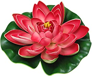 Roberts Artificial EVA Lotus Floating Water Lily Blooming Mini Foam Flower Head Pool Fish Tank Pond Home Garden Decoration (Red, 40cm)