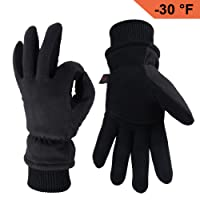 OZERO Winter Gloves -30°F Cold Proof Thermal Driving Glove - 3M Thinsulate Insulated Cotton and Water-Resistant Membrane, Warm and Windproof in Cold Weather for Men and Women Tan/Gray/Black