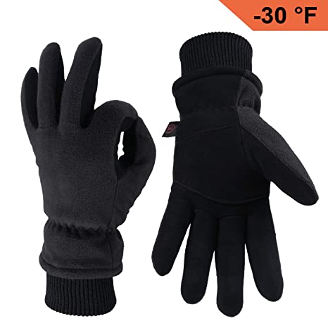 OZERO Winter Gloves with Windproof Deerskin Suede Leather and Insulated  Polar Fleece Warm for Women and 1ec7511dfe