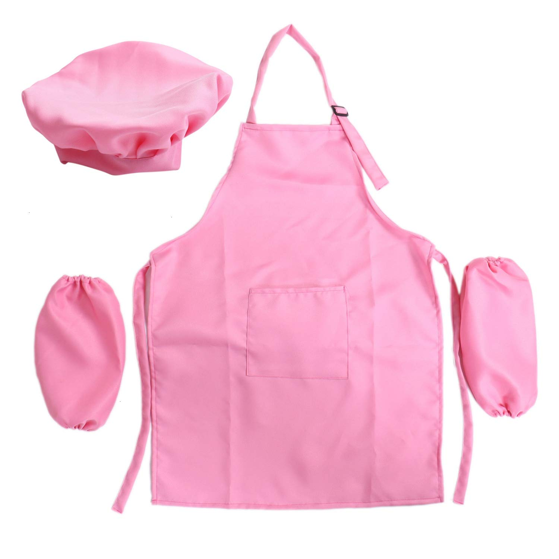 JETEHO ピンク 子供用 エプロン スリーブ 帽子 セット 小さな女の子用 子供用 ベーキングとクッキングセット   B07N2XMDP3