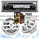 Kenwood KMR-D372BT Bluetooth Receiver + KFC-1653MRW 6.5 2-Way Marine Speaker Boat-Yacht-ATV - 2 Speakers/150W + Free Magnet Phone Holder