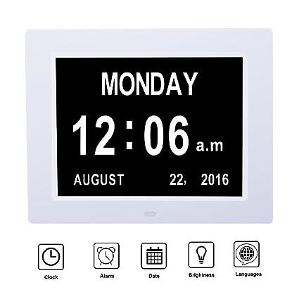 MCB reloj calendario Digital con fecha día y hora para Seniors, plástico, blanco,