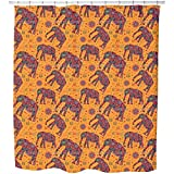 Indian Elephant Mountain Hike Shower Curtain: Large Waterproof Luxurious Bathroom Design Woven Fabric
