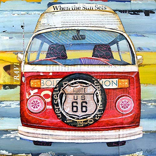 Get Your Kicks, Classic Antique Car Van Camper Danny Phillips Art Print, Unframed, Route 66 Retro Art Wall and Home Decor Poster, Mixed Media Collage Painting, All Sizes