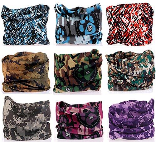 KINGREE 9PCS Headwear, Womens and Mens Headband, Guys Sweatband & Sports Head Tie for ATV/UTV riding, Outdoor Magic Scarf, Bandanna Headwrap, (Digital Camo)