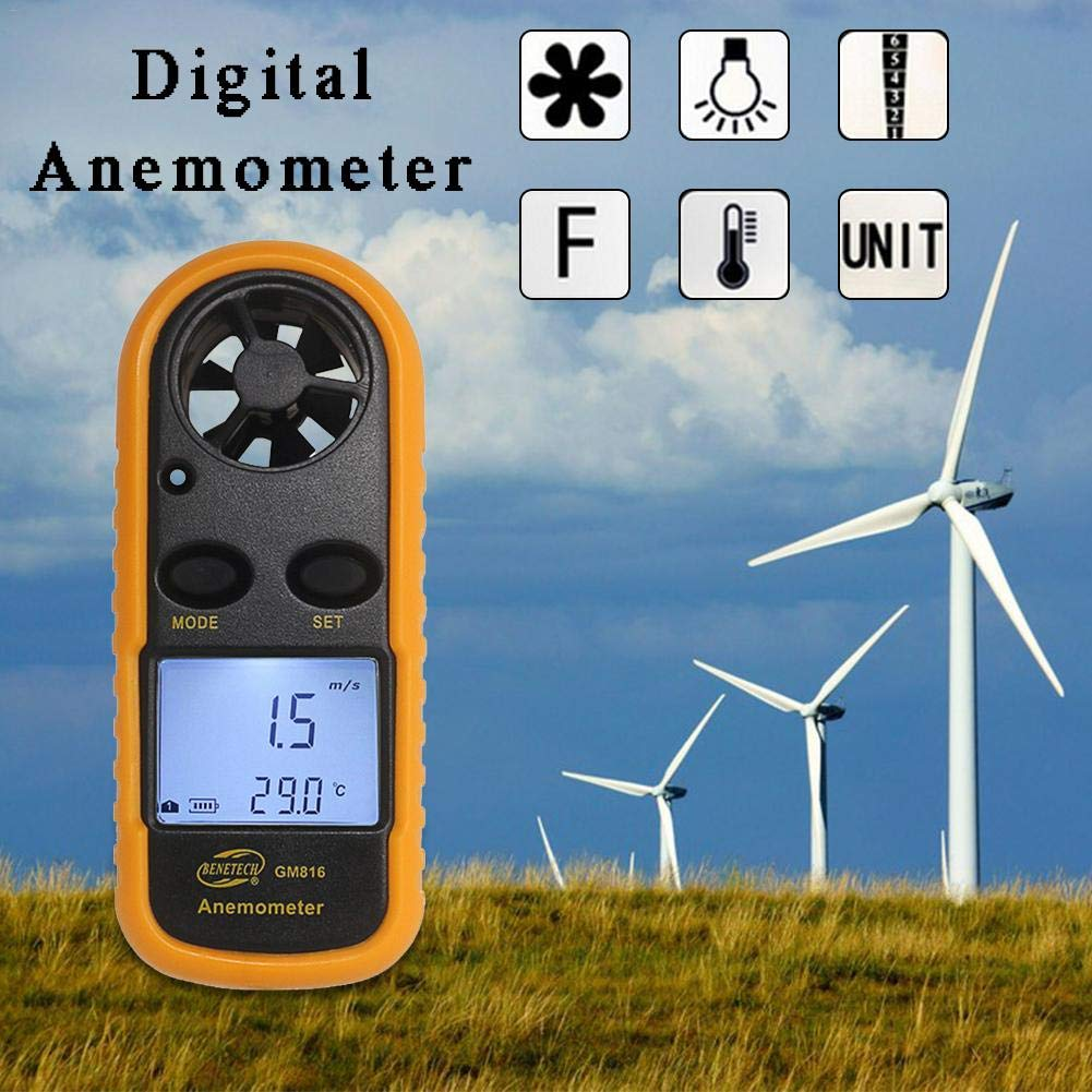 Anem/ómetro Mini LCD Digital Term/ómetro Inicio Deportes Volar una Cometa Surf Deslizamiento N/áutico