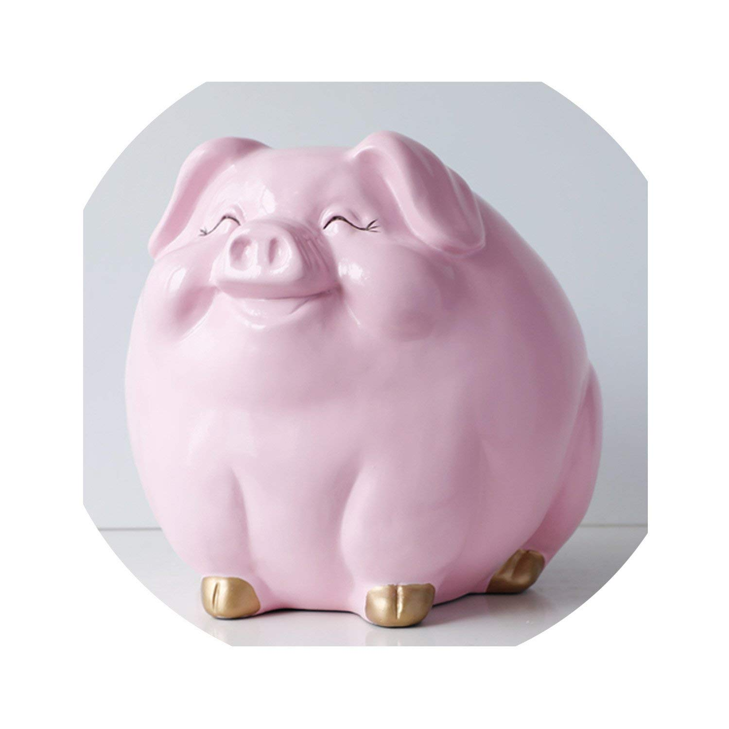 Pig Money Box for Children Gift Resin Animal Statue case Coin Bank Box Creative Fun Pig Money Boxes for Kids Cute Piggy Banks,Pink by Goodbye-money bank