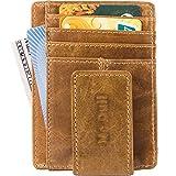 Wallets with Money Clip Mens Minimalist Genuine Leather Magnet Front Pocket Wallet RFID Blocking (Light Brown)