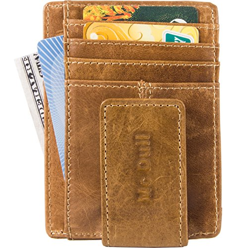 Wallets with Money Clip Mens Minimalist Genuine Leather Magnet Front Pocket Wallet RFID Blocking (Light Brown) by Mcdull