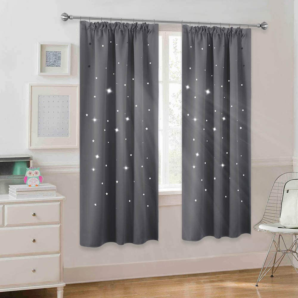 PONY DANCE Girls Bedroom Curtains Pencil Pleat Thermal Room Darken Light Filter Star Curtain Drapes with Hollow Out Pattern for Kids Nursery 55-inch Wide by 68-inch Long, Light Pink, 2 PCs
